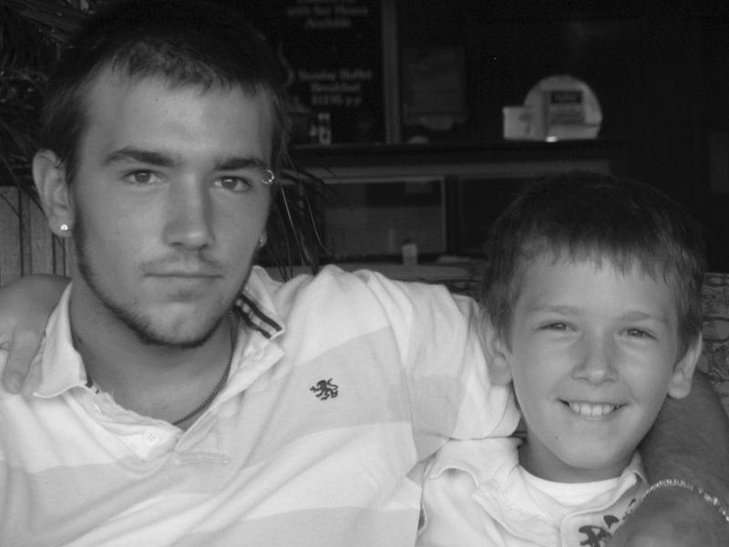 Black & white Josh and Jed